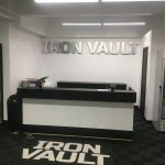 dimensional lobby sign and floor graphics